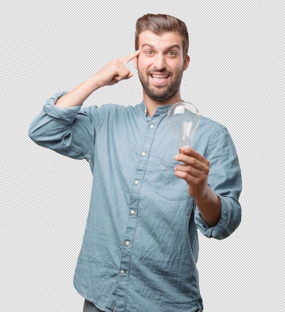 Beau Jeune Homme Avec Ampoule PSD Premium