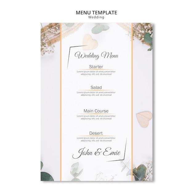 Beau menu de mariage avec des ornements Psd gratuit