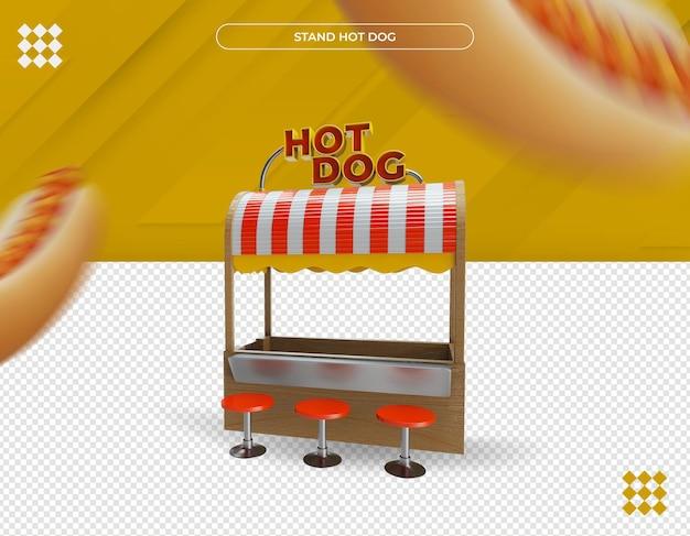 Beau Stand De Hot-dog Rendu 3d PSD Premium