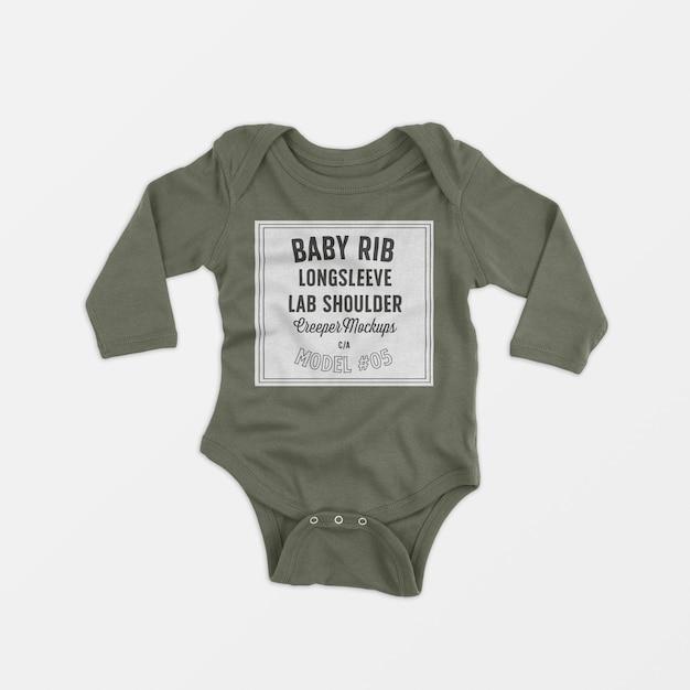 Bébé beignet côtelé à manches longues et aux genoux, maquette 05 Psd gratuit
