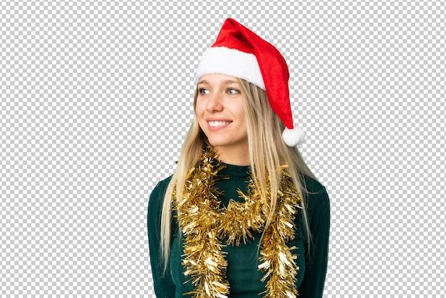 Belle Femme Avec Chapeau De Noël Isolé PSD Premium