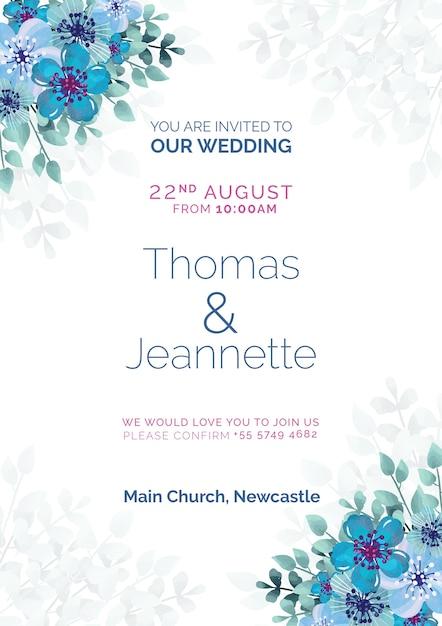 Belle Invitation De Mariage Avec Des Fleurs Peintes En Bleu Psd gratuit