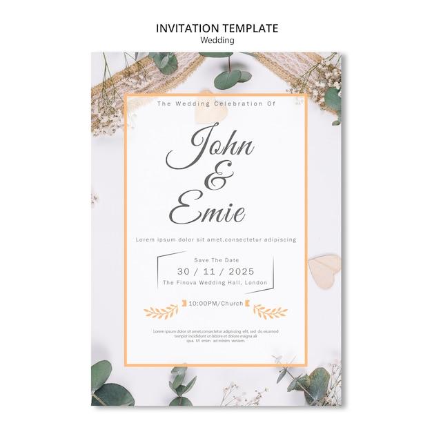 Belle invitation de mariage avec de jolis ornements Psd gratuit