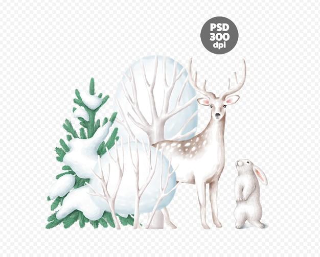 Belle Scène D'hiver Avec Cerf Et Lapin Isolé PSD Premium