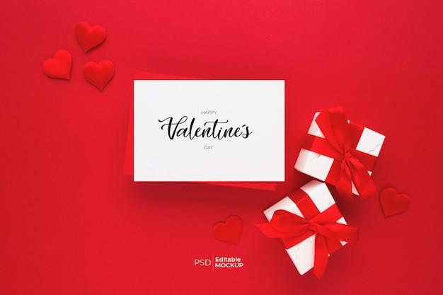 Belle Vue De Dessus De La Maquette De Carte De Voeux Vide Pour La Saint-valentin Psd gratuit