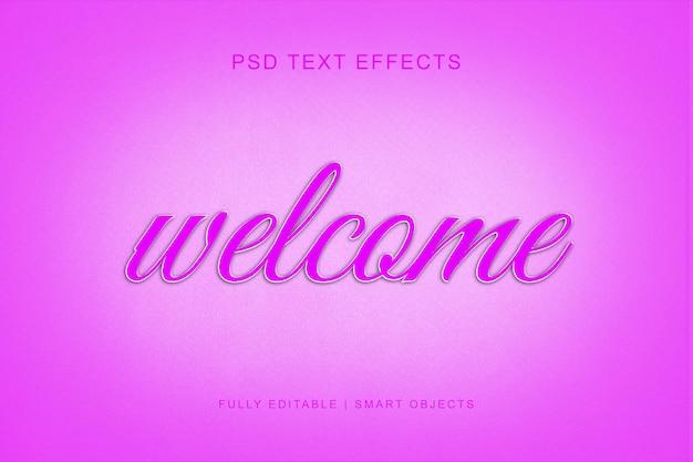 Bienvenue effet de texte de style 3d PSD Premium