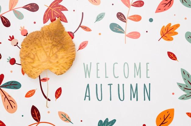 Bienvenue lettres d'automne avec des feuilles autour Psd gratuit