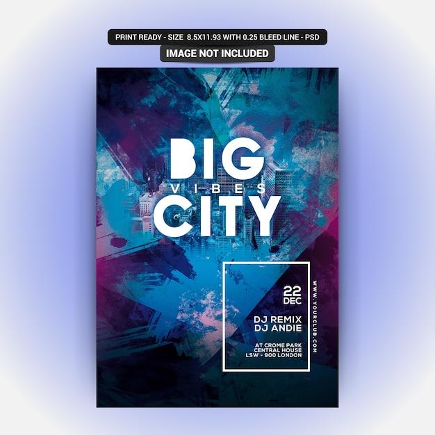 Big city club party flyer PSD Premium