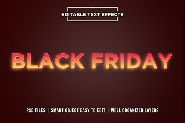Black friday effets de texte néon dégradé orange PSD Premium
