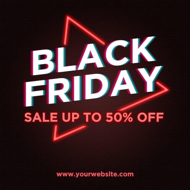 Black friday vente bannière en néon et glitch style PSD Premium