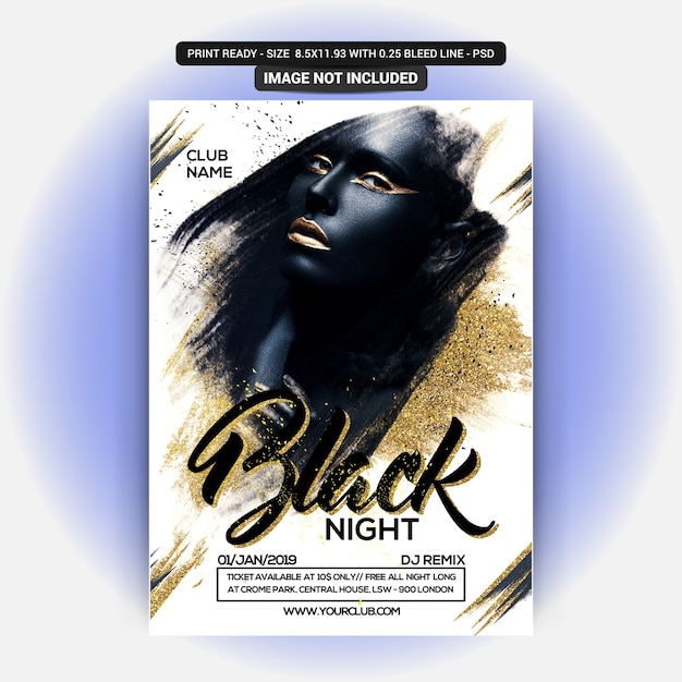Black night flyer PSD Premium