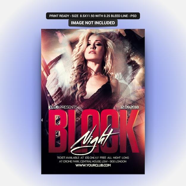 Black night party flyer PSD Premium