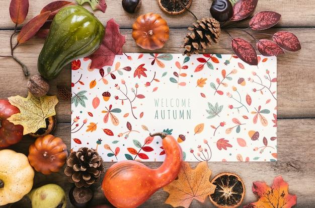 Bloc-notes coloré avec citation de bienvenue en automne Psd gratuit