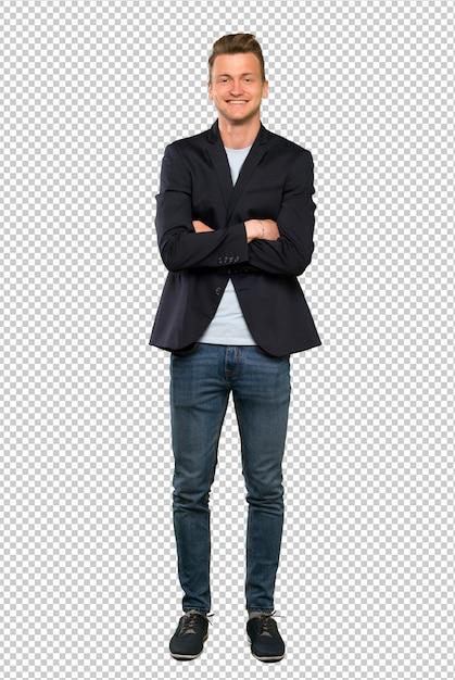Blonde bel homme gardant les bras croisés en position frontale PSD Premium