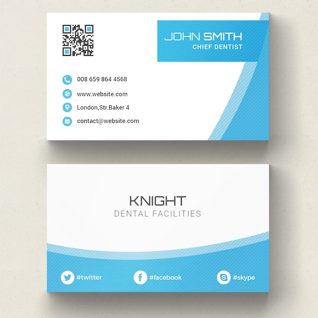 Blue corporate business card Psd gratuit