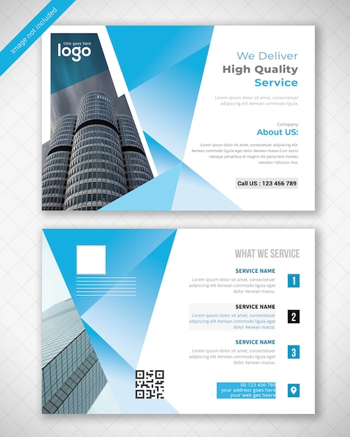 Blue post card design PSD Premium