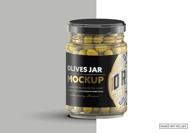 Bocal En Verre Transparent Avec Maquette D'olives PSD Premium