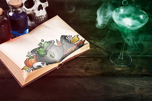 Boisson Toxique Et Livre Ouvert Avec Dessin D Halloween