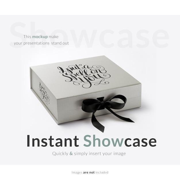 Boîte Cadeau Grise Mock Up Psd gratuit