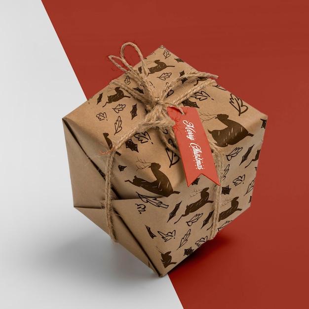 Boîte Cadeau De Noël Grand Angle Psd gratuit