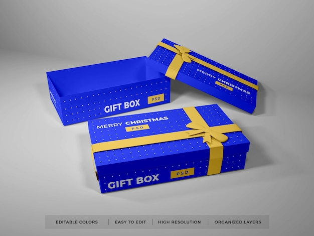 Boîte-cadeau De Noël Avec Maquette De Ruban PSD Premium