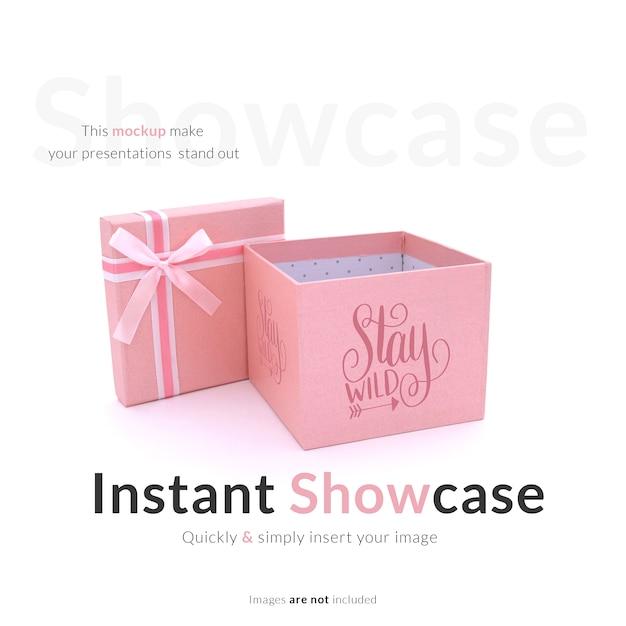 Boîte Cadeau Rose Maquette Psd gratuit