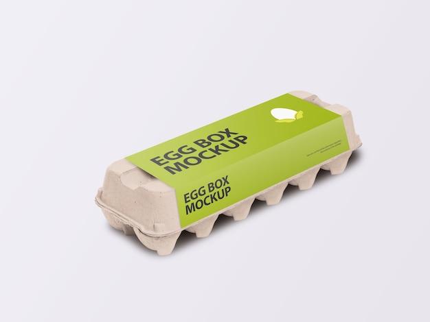 Boîte De Carton D'oeufs En Carton Avec Vue Isométrique De Maquette D'étiquette D'emballage PSD Premium