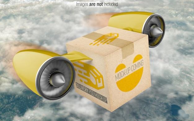 Boîte de livraison psd vue en perspective maquette PSD Premium