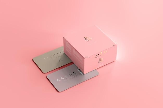 Boîte Avec Maquette De Cartes De Visite Psd gratuit