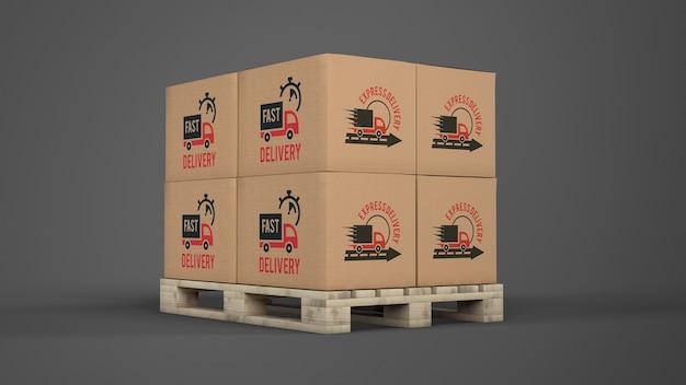 Boîtes De Livraison Sur Palette PSD Premium