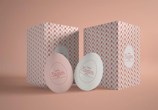 Boîtes Avec Des Oeufs De Pâques Sur Table Psd gratuit