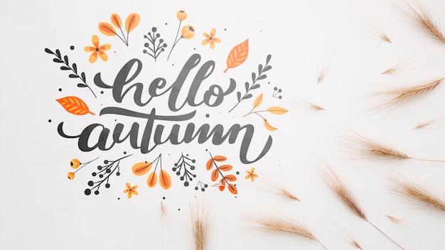 Bonjour l'automne à côté du blé Psd gratuit