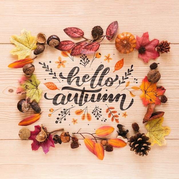 Bonjour citation automne dans un cadre naturel Psd gratuit