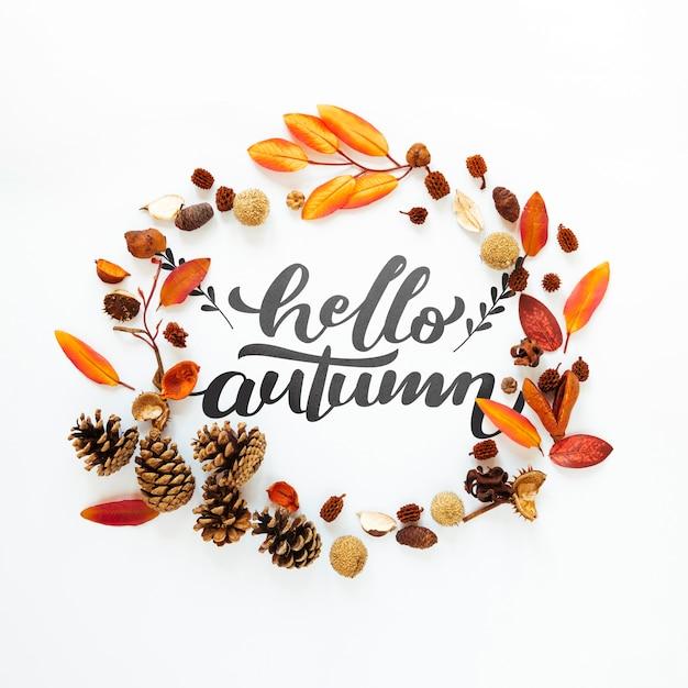 Bonjour citation automne dans un cercle de feuilles séchées Psd gratuit