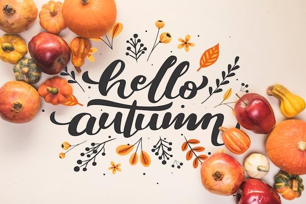 Bonjour lettrage d'automne avec des aliments sains à l'automne Psd gratuit