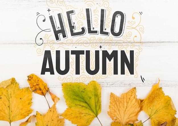 Bonjour message d'automne pour la nouvelle saison Psd gratuit