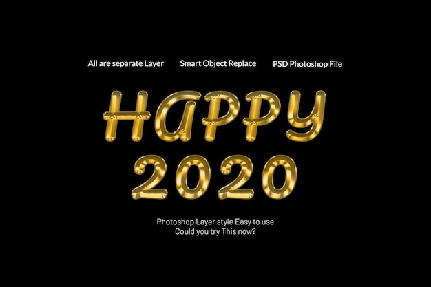 Bonne année 2020 créatif moderne 3d effet de texte doré texte PSD Premium