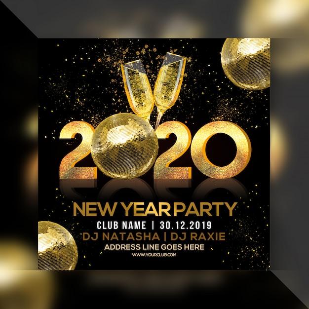 Bonne année 2020 flyer carré du parti PSD Premium