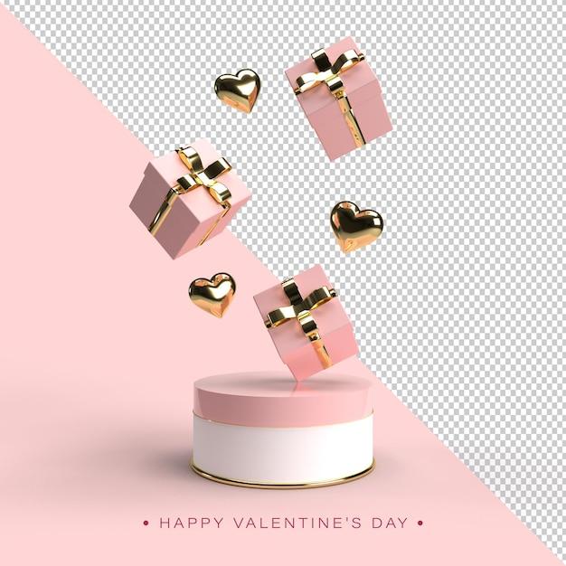 Bonne Composition De La Saint-valentin En Rendu 3d PSD Premium