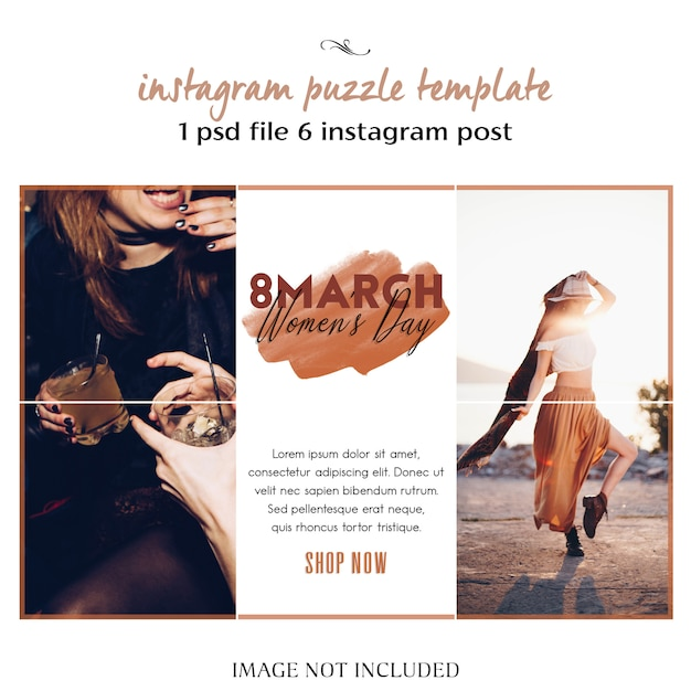 Bonne journée de la femme et modèle de puzzle de souhaits avec salutation du 8 mars sur instagram, grille ou collage PSD Premium