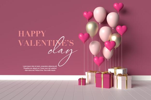 Bonne Scène De La Saint-valentin Avec Des Cadeaux Et Des Ballons PSD Premium