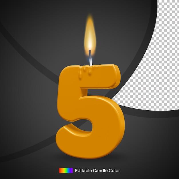 Bougie D'anniversaire Allumée Numéro 5 Avec Flamme Pour élément De Décoration De Gâteau PSD Premium