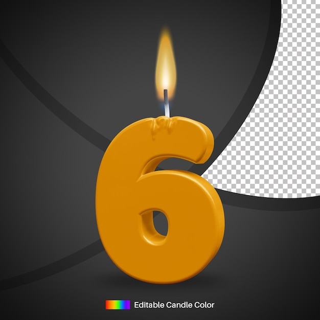 Bougie D'anniversaire Allumée Numéro 6 Avec Flamme PSD Premium