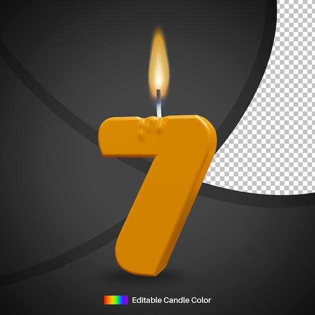 Bougie D'anniversaire Allumée Numéro 7 Avec Flamme Pour élément De Décoration De Gâteau PSD Premium