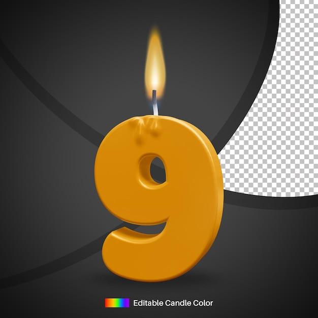 Bougie D'anniversaire Allumée Numéro 9 Avec Flamme PSD Premium