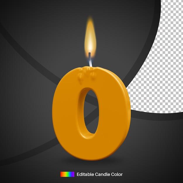 Bougie D'anniversaire Numéro 0 Avec Flamme De Feu Pour élément De Décoration De Gâteau PSD Premium