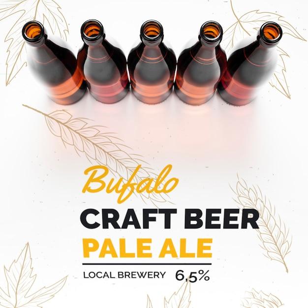 Bouteille De Bière Artisanale Sur Maquette De Table Psd gratuit