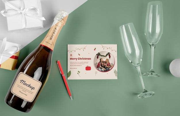 Bouteille De Champagne Avec Maquette PSD Premium