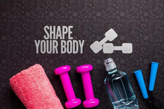 Bouteille d'eau et équipement de cours de fitness Psd gratuit