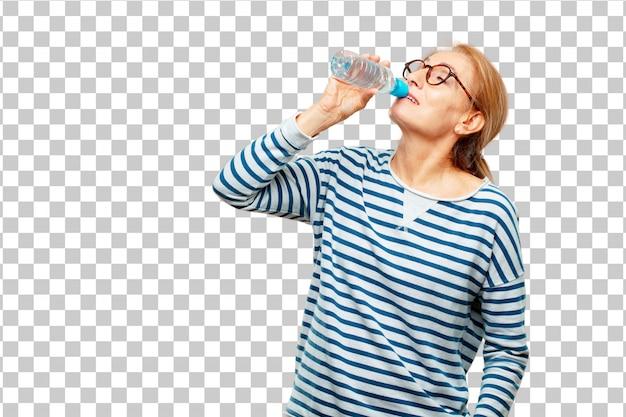 Bouteille d'eau senior belle femme PSD Premium